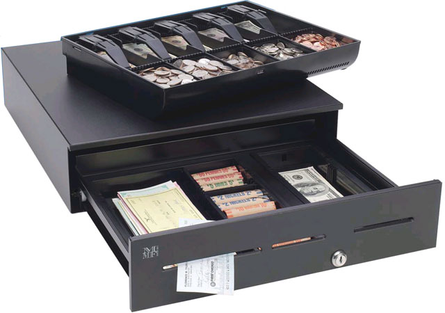 Cash drawer Point of Sale hardware.